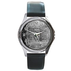 Black And White Forest Black Leather Watch (round) by Elanga