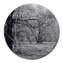 Black And White Forest 8  Mouse Pad (round)