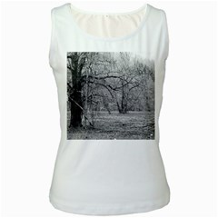 Black And White Forest White Womens  Tank Top