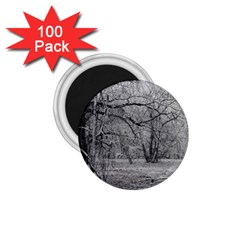 Black And White Forest 100 Pack Small Magnet (round) by Elanga