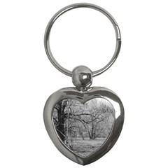 Black And White Forest Key Chain (heart) by Elanga