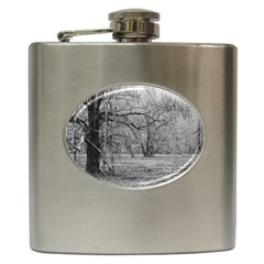 Black And White Forest Hip Flask