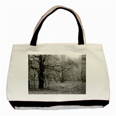 Black And White Forest Twin Sided Black Tote Bag by Elanga