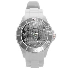 Black And White Forest Round Plastic Sport Watch Large by Elanga