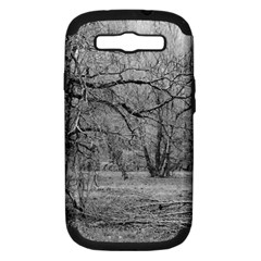 Black And White Forest Samsung Galaxy S Iii Hardshell Case (pc+silicone) by Elanga
