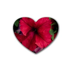 Red Peonies Rubber Drinks Coaster (heart) by Elanga