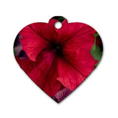 Red Peonies Twin Sided Dog Tag (heart) by Elanga