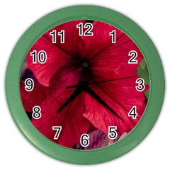 Red Peonies Colored Wall Clock by Elanga