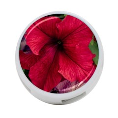 Red Peonies Twin Sided 4 Port Usb Hub (round)