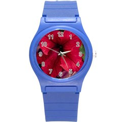Red Peonies Round Plastic Sport Watch Small by Elanga
