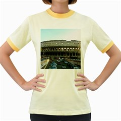 Roman Colisseum Colored Ringer Womens  T Shirt