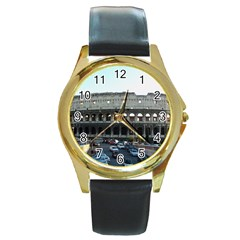 Roman Colisseum Black Leather Gold Rim Watch (round) by PatriciasOnlineCowCowStore
