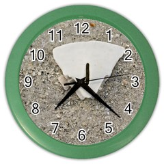 Quarter Of A Sand Dollar Colored Wall Clock by Elanga