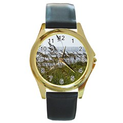 Cocoa Beach, Fl Black Leather Gold Rim Watch (round) by Elanga