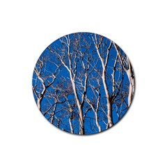 Trees On Blue Sky 4 Pack Rubber Drinks Coaster (round) by Elanga
