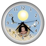 beach clock - Wall Clock (Silver)