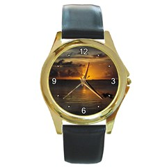 Sunset Round Gold Metal Watch by awesomesauceshop
