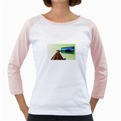 Virtual Tv White Long Sleeve Raglan Womens  T-shirt by anasuya