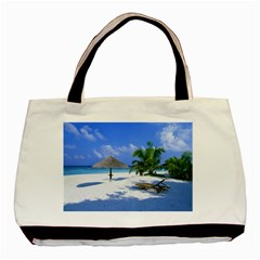 Beach Twin Sided Black Tote Bag