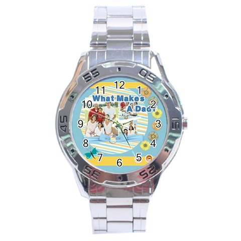 Fathers Day By Dad   Stainless Steel Analogue Watch   T4m1pwnjpvr1   Www Artscow Com Front