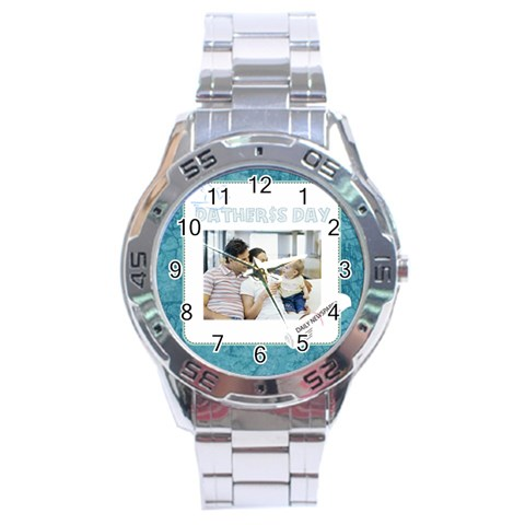 Fathers Day By Dad   Stainless Steel Analogue Watch   Ty1ves1d0160   Www Artscow Com Front