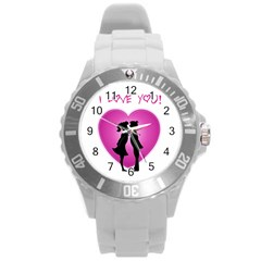I Love You Kiss Round Plastic Sport Watch Large by anasuya