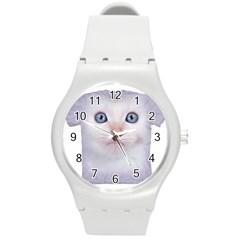 Cute Cat Round Plastic Sport Watch Medium by SweetCat
