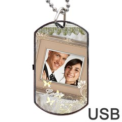 Wedding By Paula Green   Dog Tag Usb Flash (two Sides)   4lgvetm7awnv   Www Artscow Com Front