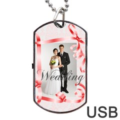 Wedding By Paula Green   Dog Tag Usb Flash (two Sides)   O0zmromwi6vf   Www Artscow Com Front