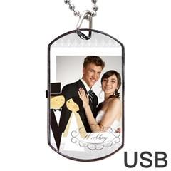 Wedding By Paula Green   Dog Tag Usb Flash (two Sides)   U7cimv8uqgu8   Www Artscow Com Back