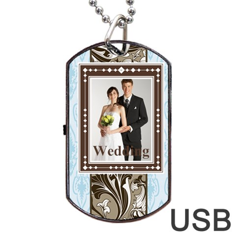 Wedding By Paula Green   Dog Tag Usb Flash (one Side)   Etwtjtr9zmrt   Www Artscow Com Front