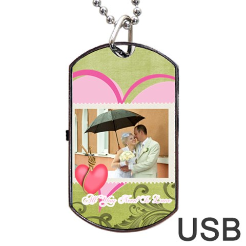 Wedding By Paula Green   Dog Tag Usb Flash (one Side)   Pfxmhekglj3f   Www Artscow Com Front