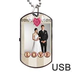 Wedding By Paula Green   Dog Tag Usb Flash (two Sides)   Nn3vezsq9ujx   Www Artscow Com Front