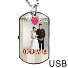 Wedding By Paula Green   Dog Tag Usb Flash (two Sides)   Nn3vezsq9ujx   Www Artscow Com Back