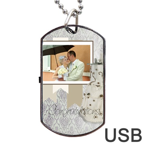 Wedding By Paula Green   Dog Tag Usb Flash (one Side)   M7qzufzyg5e7   Www Artscow Com Front