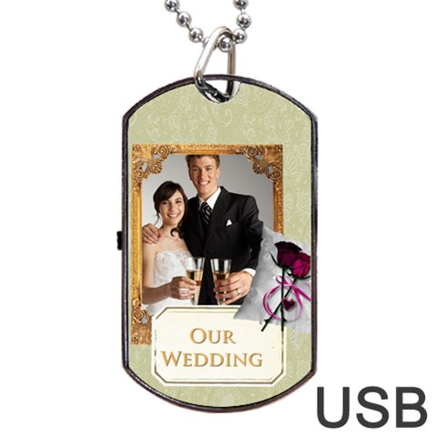 Wedding By Paula Green   Dog Tag Usb Flash (one Side)   Cvhqmk5cm0za   Www Artscow Com Front