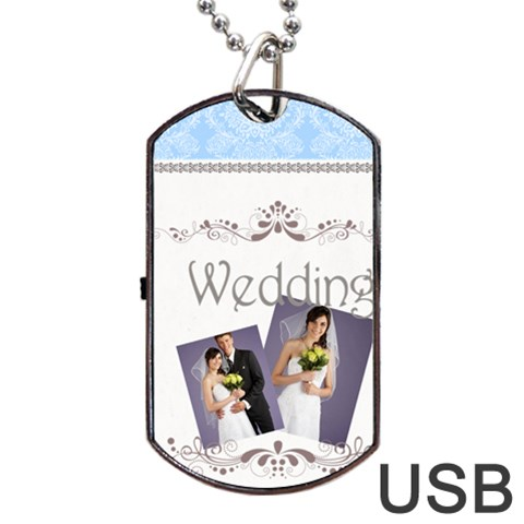 Wedding By Paula Green   Dog Tag Usb Flash (one Side)   Dp5wxi4hec91   Www Artscow Com Front