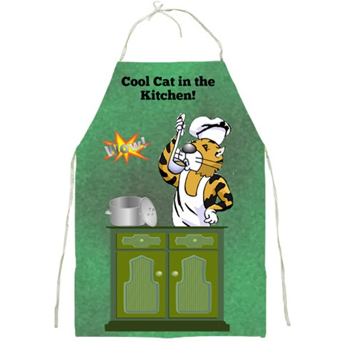 Cool Cat Apron By Joy Johns   Full Print Apron   2w4fo2xkn4sx   Www Artscow Com Front
