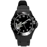 rock - guitar - watch - Round Plastic Sport Watch (L)