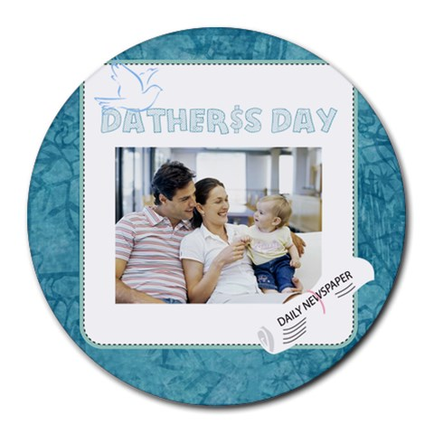 Fathers Day By Dad   Collage Round Mousepad   465ldndgk2su   Www Artscow Com 8 x8 Round Mousepad - 1