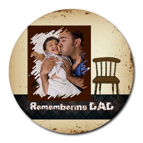 Fathers Day By Dad   Collage Round Mousepad   3ggglshyg19x   Www Artscow Com 8 x8  Round Mousepad - 1