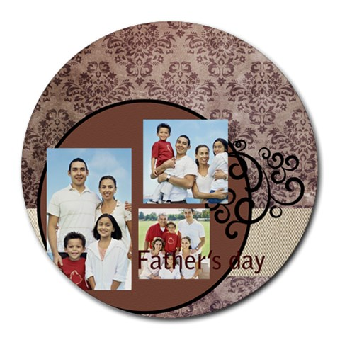 Fathers Day By Dad   Collage Round Mousepad   Jqyy21dulgvm   Www Artscow Com 8 x8 Round Mousepad - 1