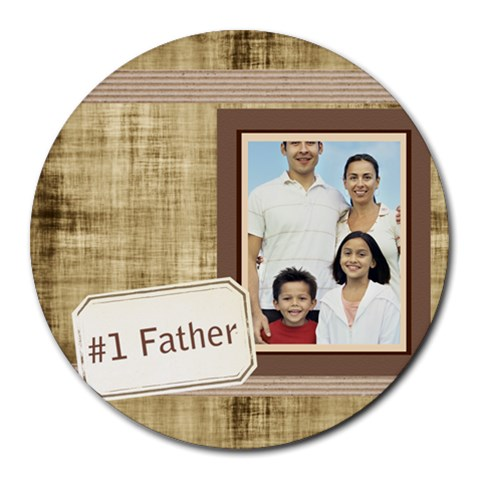 Fathers Day By Dad   Collage Round Mousepad   H4ac9wzxrdsb   Www Artscow Com 8 x8 Round Mousepad - 1