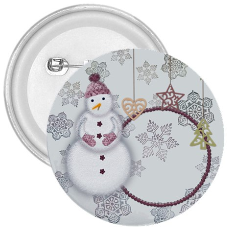 Pink Snowman 3  Buttom By Zornitza   3  Button   Gc347ydhi9df   Www Artscow Com Front