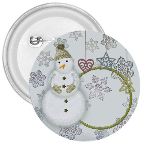 Green Snowman 3  Buttom By Zornitza   3  Button   Mg7900z4c76a   Www Artscow Com Front