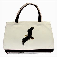 Landing Eagle I Twin Sided Black Tote Bag by OnlineShoppers
