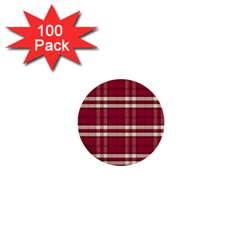 Red White Plaid 1  Mini Button (100 Pack) by crabtreegifts