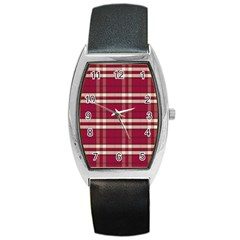 Red White Plaid Tonneau Leather Watch by crabtreegifts