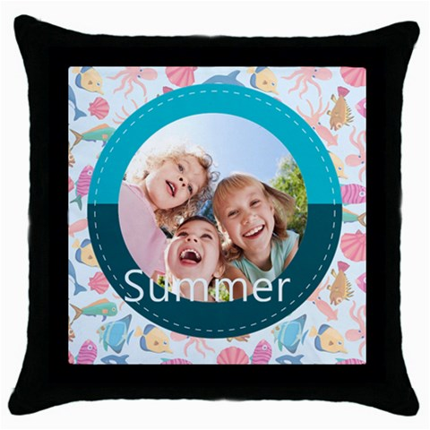 Summer By Summer Time    Throw Pillow Case (black)   I6cmualyiiy4   Www Artscow Com Front