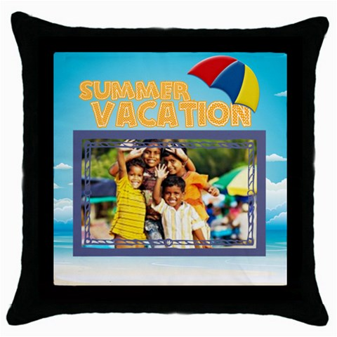 Summer By Summer Time    Throw Pillow Case (black)   Oavgsdlpt9eq   Www Artscow Com Front